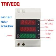 Wattmètre D52-2047 Din rail Volt compteur de courant facteur de puissance actif compteur numérique AC80-300V multifonction puissance kwh mètre 0-100A