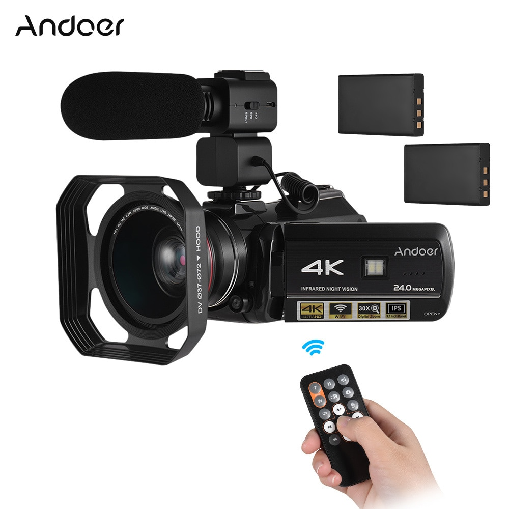 Andoer AC3 4K UHD 24MP Digital Video Camera Camcorder DV Recorder 30X Zoom WiFi Connection IR Night Vision