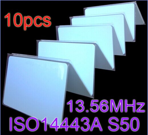 10pcs/Lot RFID Card 13.56Mhz ISO14443A MFS50 Re-writable Proximity Smart Card NFC Card 0.8mm Thin For Access Control System