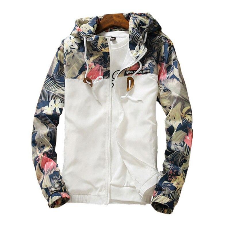 Floral Bomber chaqueta hombres chaqueta Hip Hop Slim flores piloto bombardero chaqueta capa de los hombres con capucha chaquetas Plus tamaño 4XL ¡