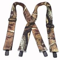 Мужские камуфляжные подтяжки, винтажные подтяжки с 4 зажимами для взрослых, 5 * наружные ремни см, 120