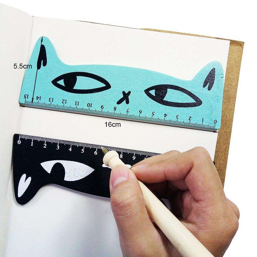 30 шт./лот Kawaii Cat Head дизайн деревянная линейка Студенческая учебная Закладка-линейка измерительный инструмент Лоскутная линейка для рисован...