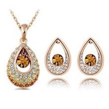 Accessoires de mode autriche cristal complet strass goutte colliers et boucles doreilles ensembles bijoux en gros