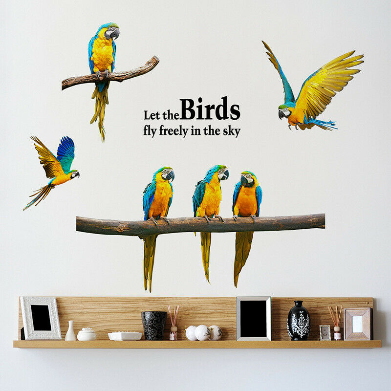 Съемные летающие попугай макароны настенные наклейки с птицами животные наклейка искусство украшение дома декор комнаты горячая распрода...