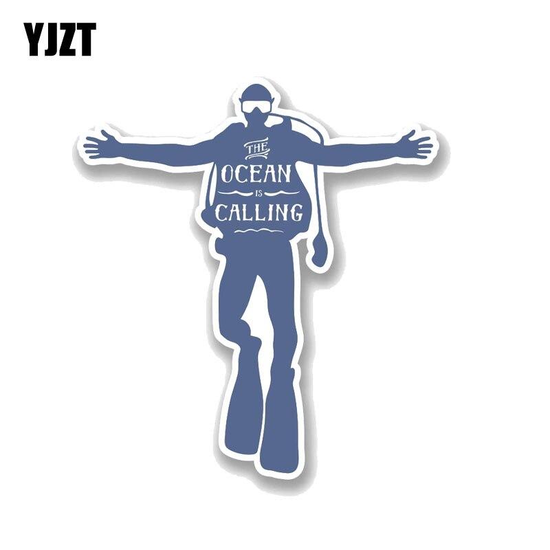 YJZT 13,9 CM * 15,2 CM buzo etiqueta divertido de buceo de PVC de La etiqueta engomada del coche de 11-00744