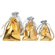 25 pièces/lot bijoux emballage argent or feuille tissu cordon velours sac 7x9cm 9x12cm 10x15cm cadeau de mariage sacs et pochettes
