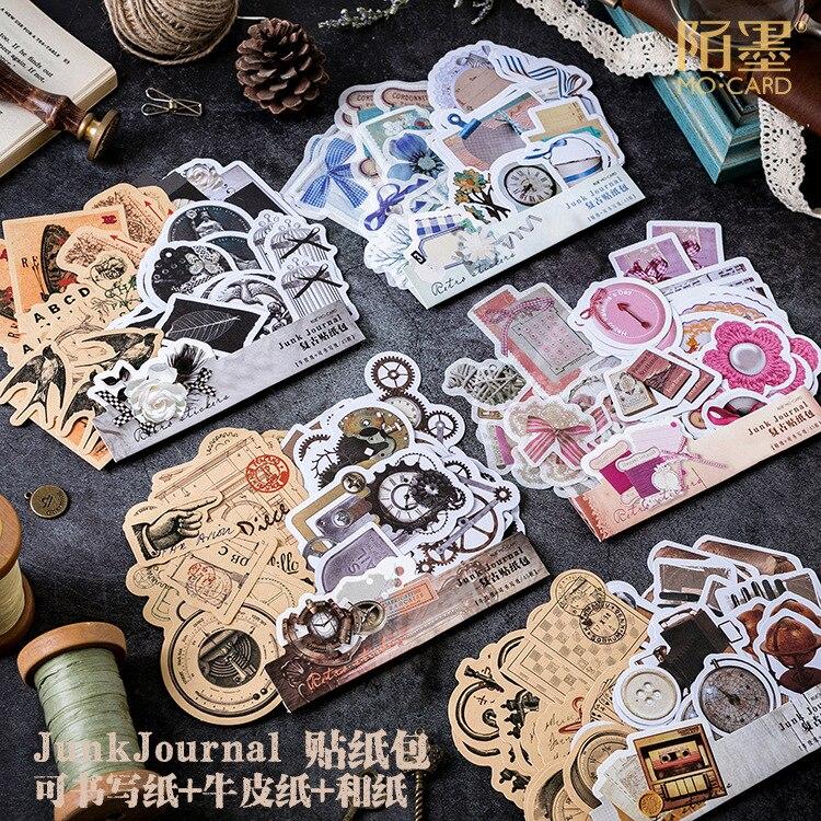 45pcs/pack Vintage Modern Times Diy Decorative Stickers Scrapbooking Diary Album Decor Stick Label