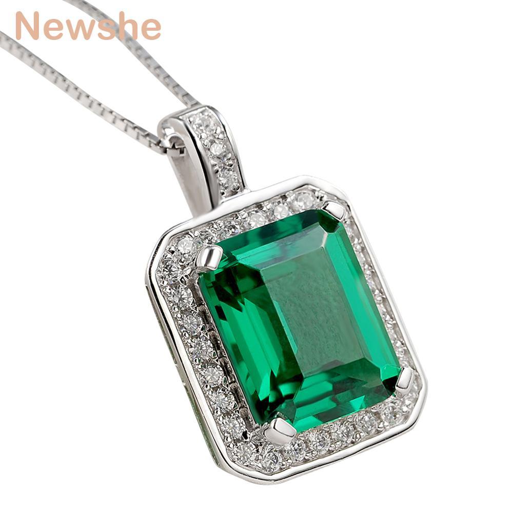 "Newshe elegante verde AAA CZ colgante Pure sólida plata 925 18 ""collar de cadena joyería clásica regalo para mujeres ZPS02302"