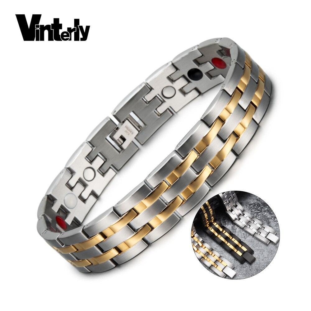 Pulsera magnética Vinterly, pulsera magnética de acero inoxidable de color dorado para hombre, amuletos de germanio para la salud energética, pulseras para hombre 2018