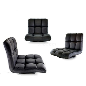 Modern Living Room Chair Floor Soft Seating Backrest Leather 360 Degree Rotating Japanese Style Legless Chair Home Furniture