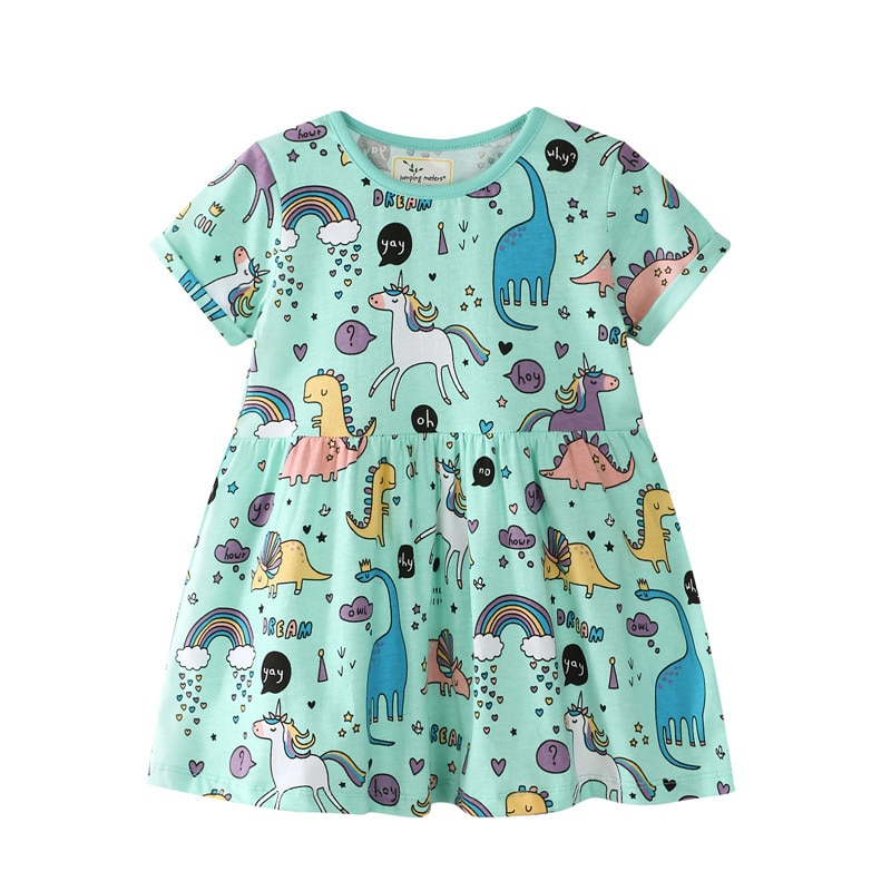 Летние платья для девочек с единорогом; Летнее платье для маленьких девочек с принтом динозавра; Милое Полосатое платье для девочек с животными