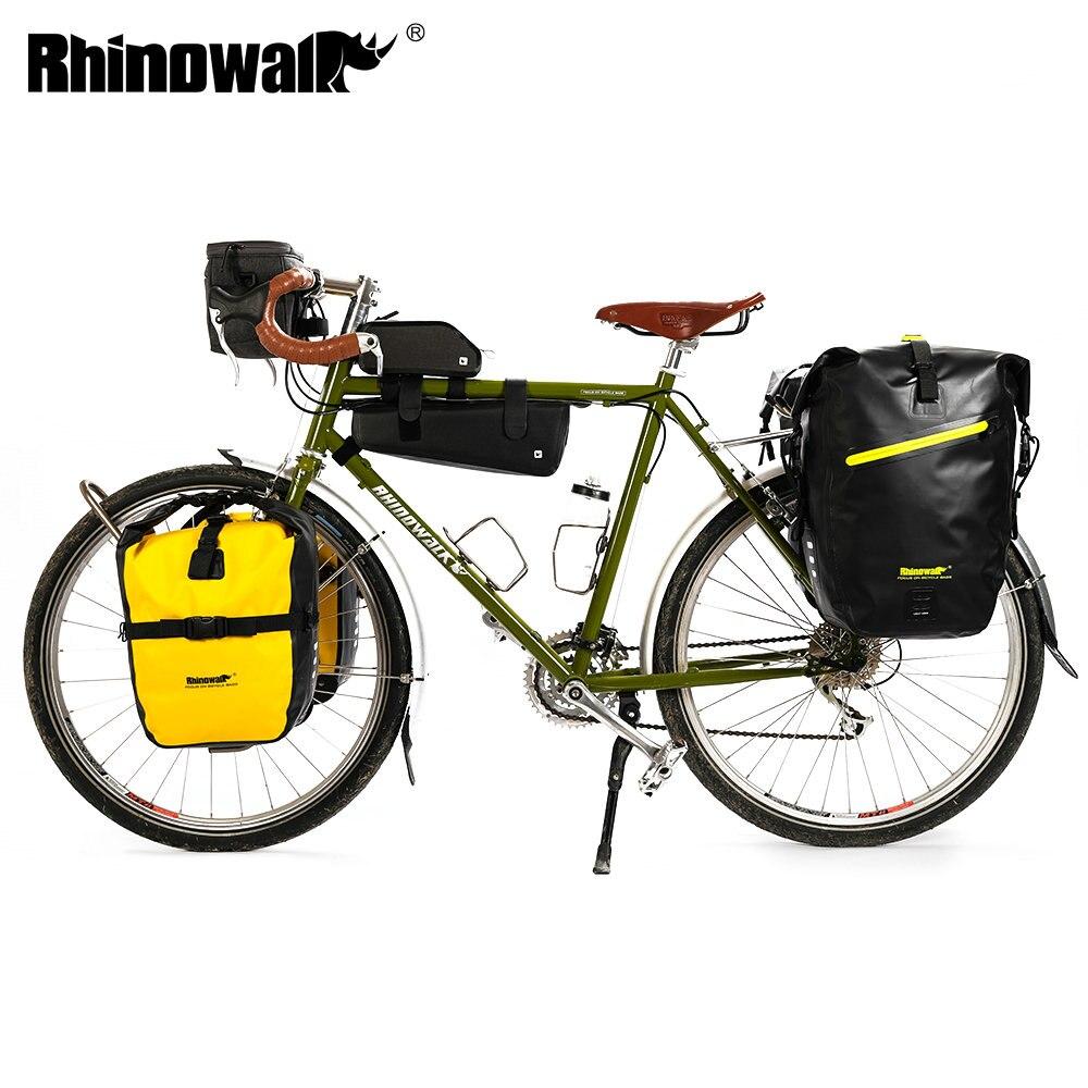 Bolsa de viaje de larga duración para bicicleta de rinowalk, bolsa de viaje para equipaje de bicicleta impermeable de gran capacidad, bolsa para manillar, bolsa de cuadro frontal para bicicleta