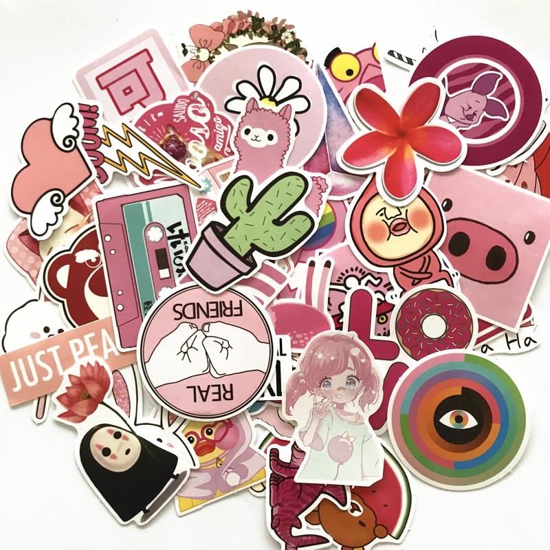50 Uds. Pegatinas rosas de dibujos animados Rilakkuma Mix para ordenador portátil, pegatinas DIY para niños, juguetes, coches, teléfono, portátil, bicicleta, a prueba de agua