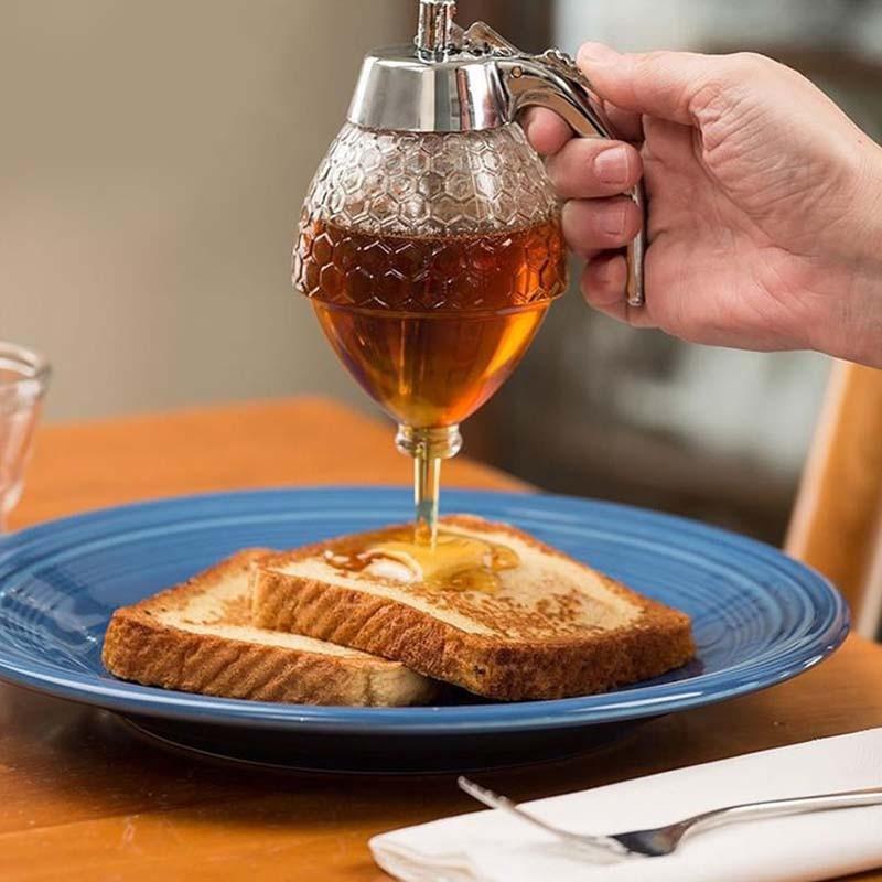 Honey Squeeze Bottle Juice Syrup Cup Drip Dispenser Practical Honey Jar Container Juice Bee Drip Dispenser Storage Kettle