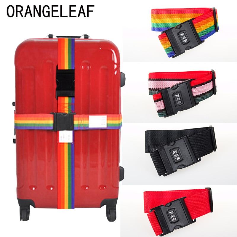 Cinta de bagagem cinto transversal embalagem 200 cm ajustável acessórios de viagem mala de viagem náilon 3 dígitos senha bloqueio fivela correia tag
