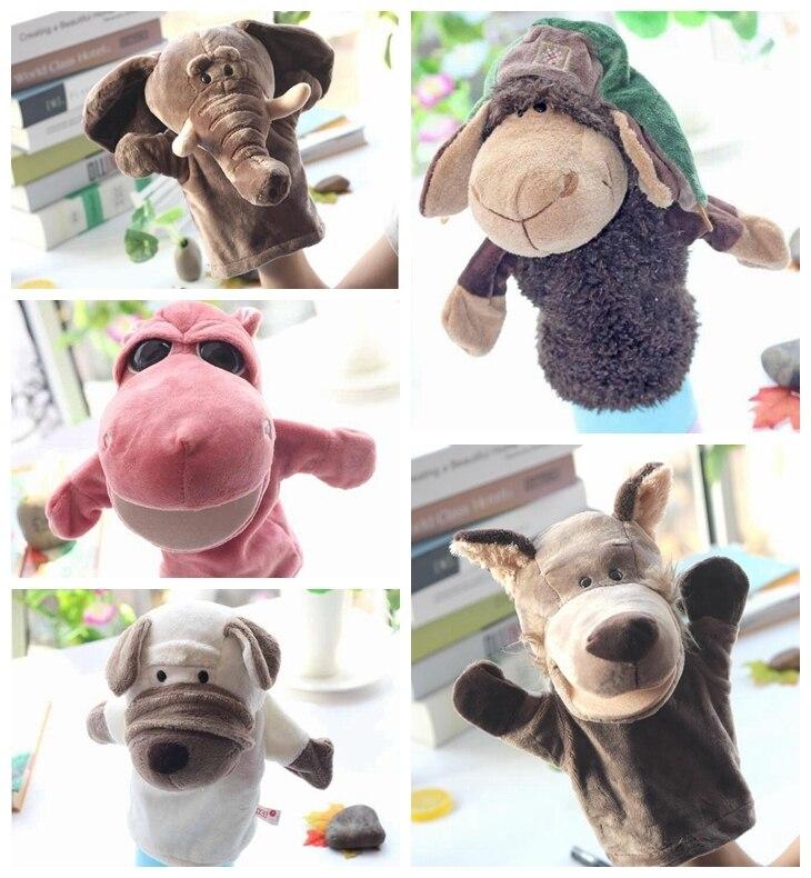 1 pieza 25 cm marionetas de felpa animal Lobo hipopótamo cocodrilo leopardo perro oveja burro orangután oso vaca historia papel relleno juguete