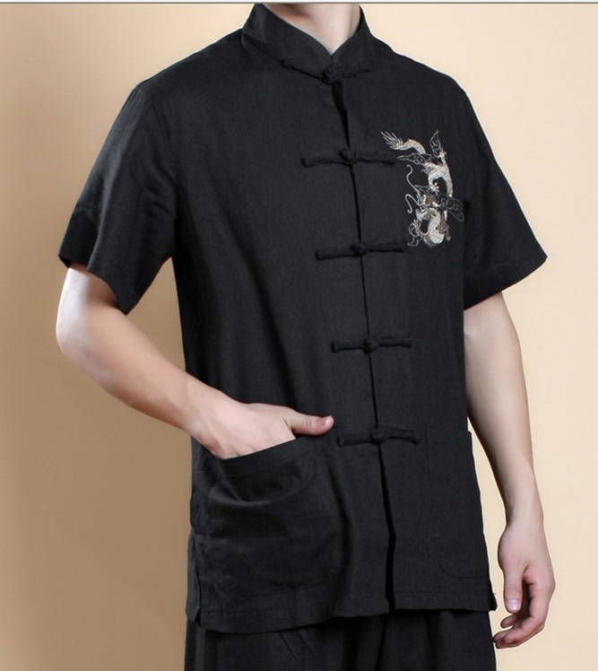 Camiseta negra China de los hombres del Wing Chun Kung Fu Top de manga corta Tang Suit Vintage bordado ropa talla S m, L, XL, XXL, XXXL MS022