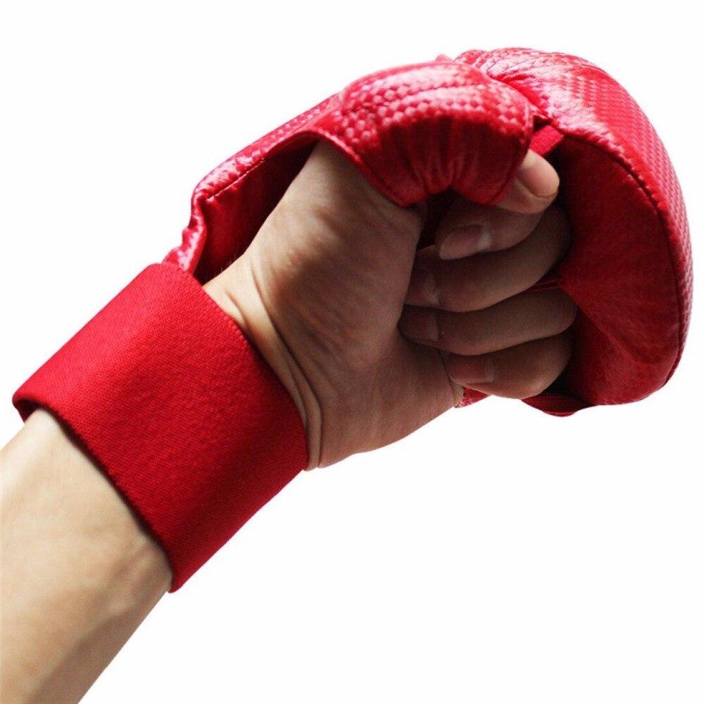 Mma guantes de boxeo Muay Thai guantes de Karate Sanda Sandbag Color negro rojo guantes de entrenamiento para hombres mujeres guantes