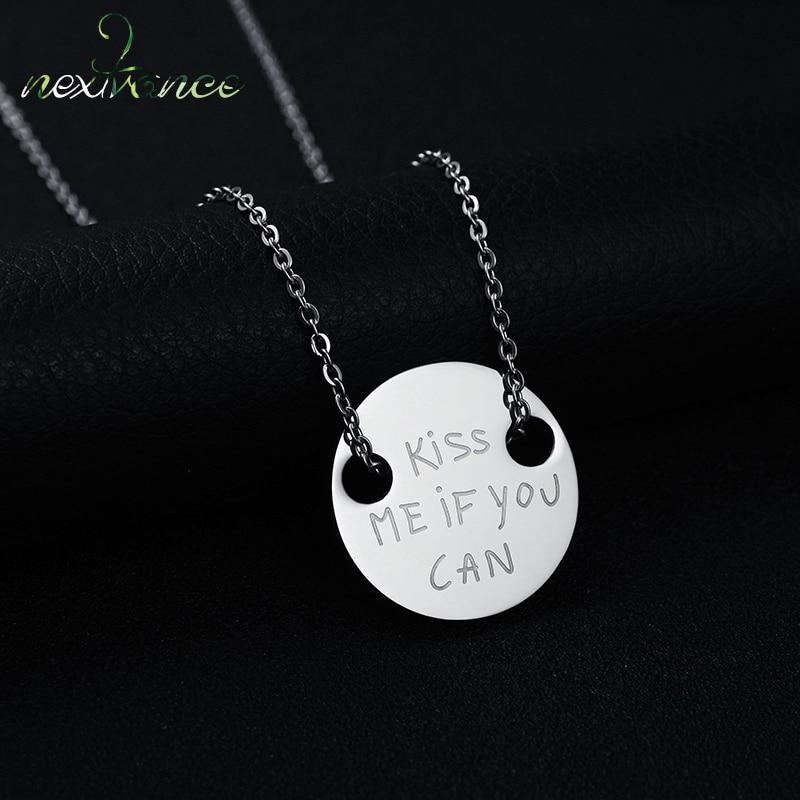 Nextvance marca Kiss Me If You Can redondo moneda colgante collar amor carta pareja collares para amante San Valentín regalo