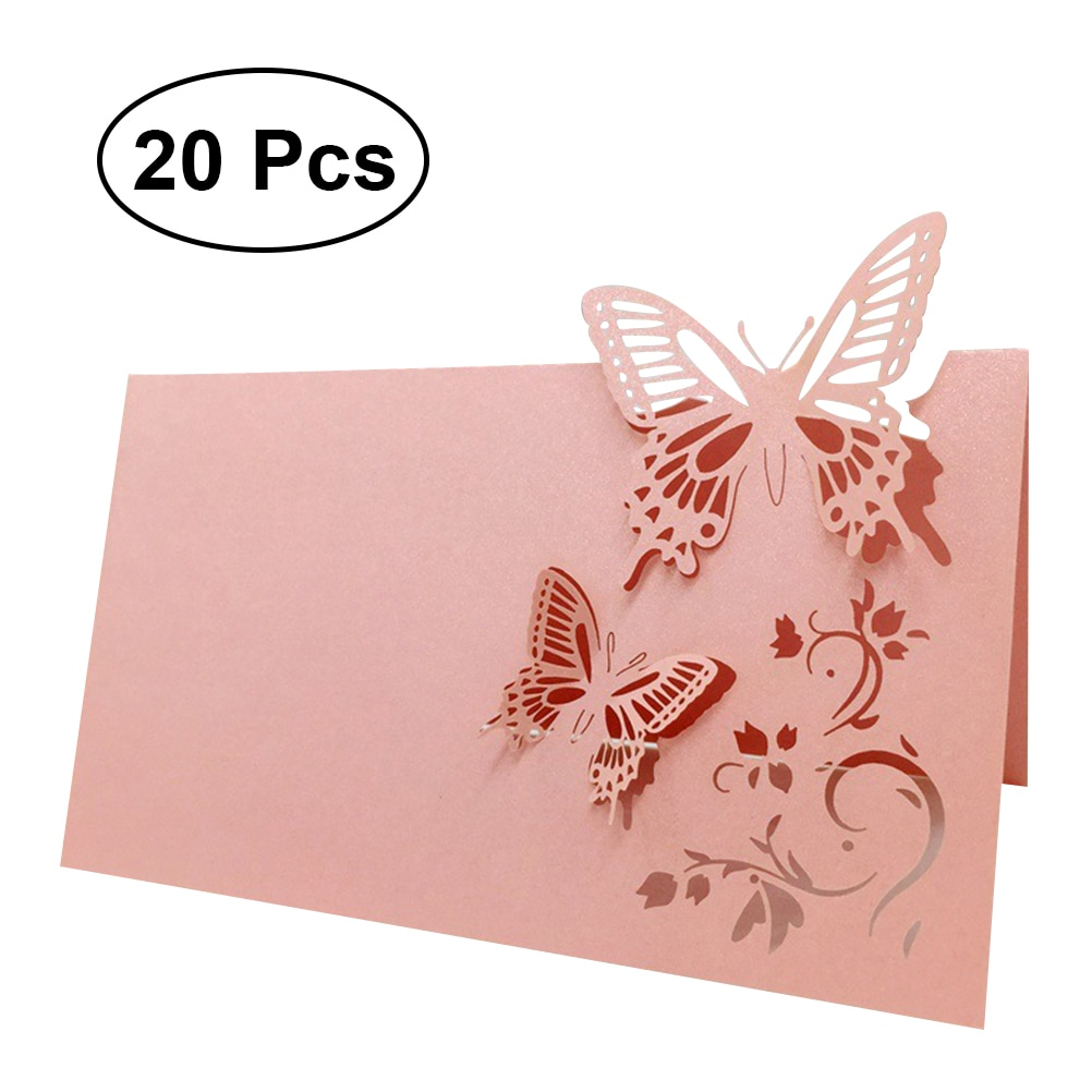 Tarjetas de nombre y lugar para las mesas 20 piezas, decoración de recuerdo para fiesta de boda, corte láser de mariposa, tamaño pequeño Z08 90x90MM (rosa) A42