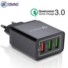 ESVNE 3 Port USB Wand Ladegerät schnell ladung 3,0 4,0 qc 2,0 für iPhone Schnelle Lade Samsung Xiaomi Handy ladegerät adapter