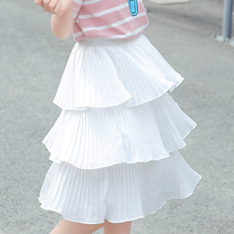 Teens Girls Long Chiffon Skirt Kids Baby White Chiffon Pleated Skirt for Girl Elegant Clothing 4 5 6 7 8 9 10 11 12 13 14 Years