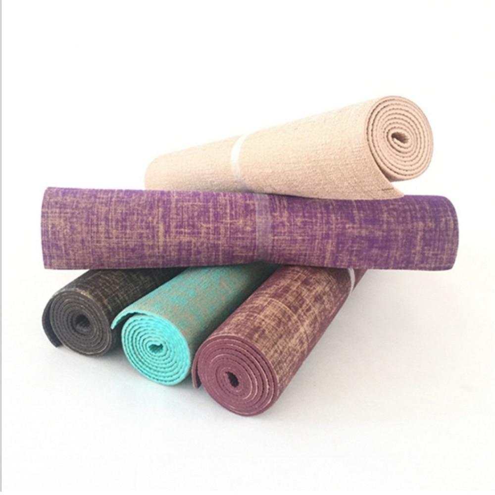 5MM Natural Jute Yoga Mat 183*61cm Linen Material Yoga Mat Non-slip Mat Yoga acupressure Yoga Healthy Yoga Gym Mat for Fitness