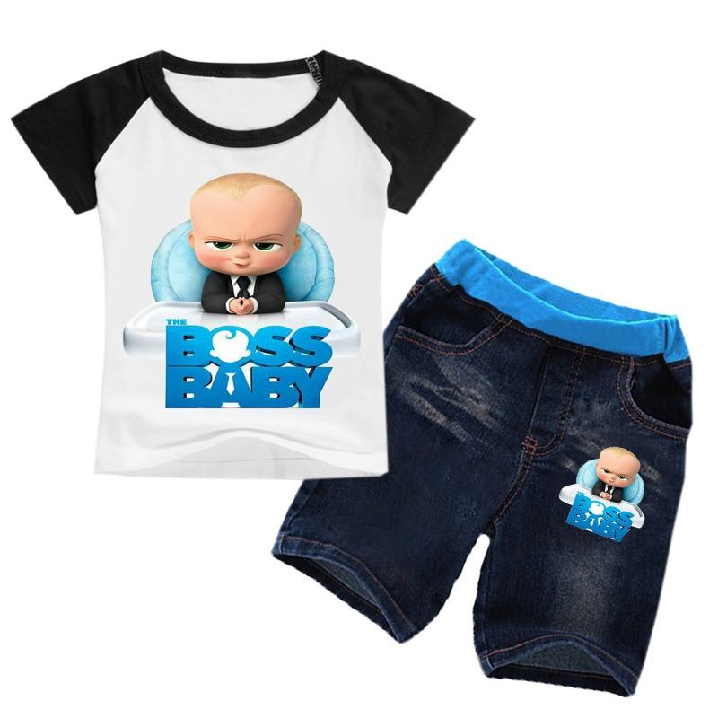 Z & Y 2-16Y ropa de verano para niños pequeños el jefe ropa de bebé conjunto adolescentes chicos camiseta Jeans 2 uds establece camiseta pantalones cortos niñas trajes