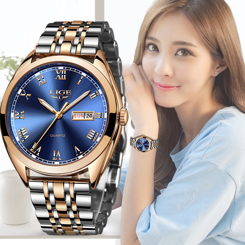 2019 LIGE New Rose Gold Women Watch Business Quartz Watch Ladies Top Brand Luxury Female Wrist Watch