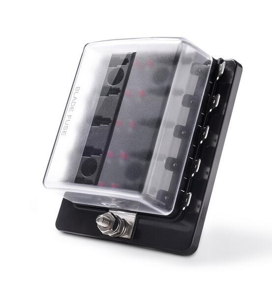 Soporte de caja de fusibles de cuchilla Jtron de 6 vías/10 vías con luz de advertencia led para coche barco triciclo marino 12V 24V M Tamaño