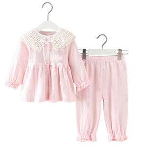 Baby Girls lace Clothing Set infant princess Clothes Newborn toddler bow knot Set T-shirt+Pants 2 Pcs Set for 0-24M kids