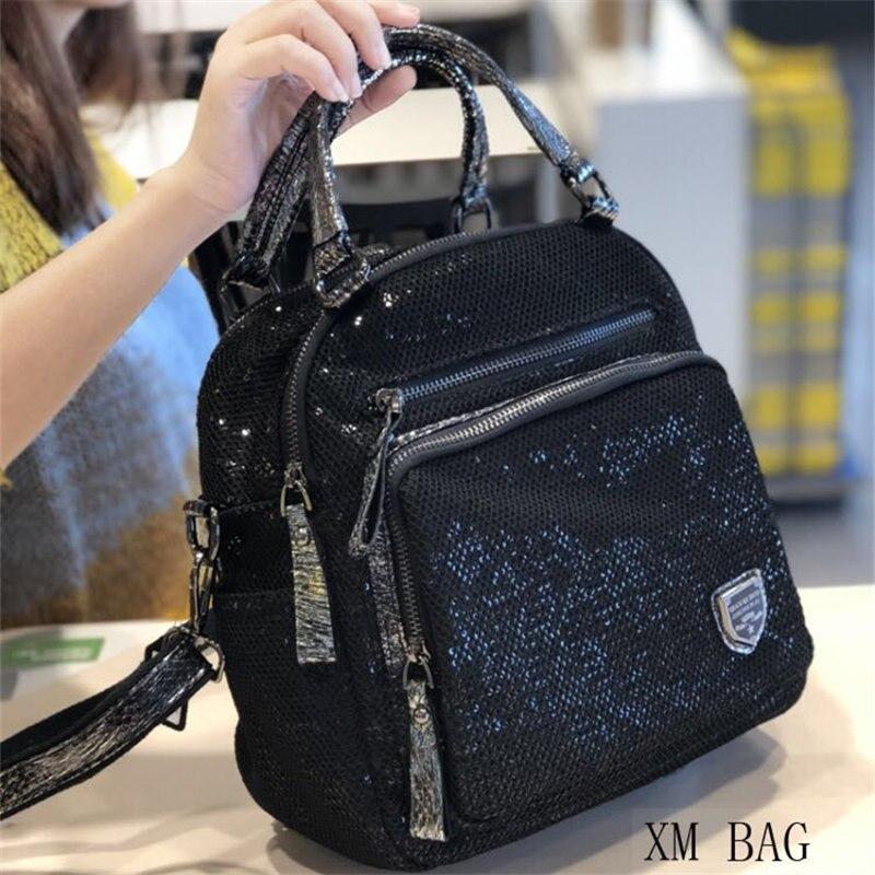 حقيبة ظهر نسائية بسيطة وعالية الجودة ، حقيبة شباب عصرية ، لون أسود ، حزام كتف