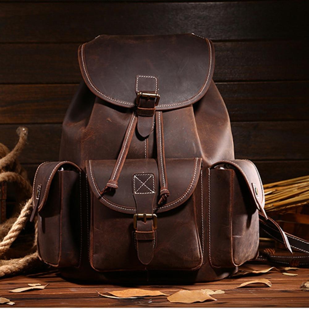 كريزي هورس-حقيبة ظهر من الجلد الطبيعي للرجال ، حقيبة مدرسية ، كمبيوتر ، جلد البقر ، أعلى جودة