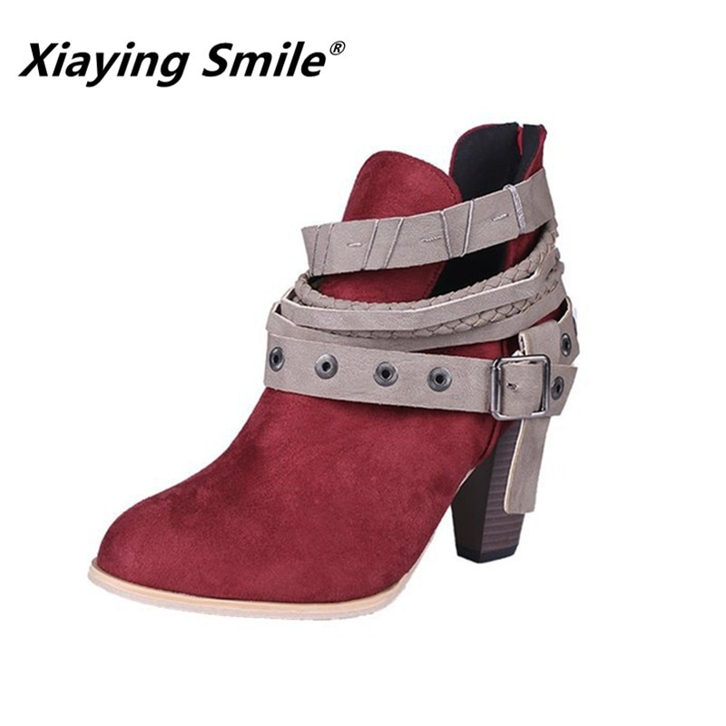 Xiaying Sorriso Das Mulheres Mais Novo Estilo de Salto Alto Mulheres Botas Moda Casual Sapatos Femininos Ankle Boots Fivela de Atrair a atenção Especial