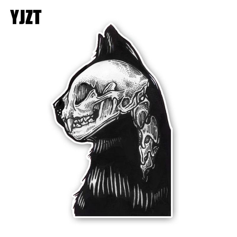 YJZT 14.7CM*9.1CM Accessories Cat Skull Head Decal Creative Car Sticker Car Styling 6-2435