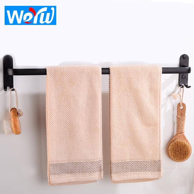 Toallero negro montado en la pared baño toallero estante colgante titular con ganchos aluminio ropa toallero riel de almacenamiento estante