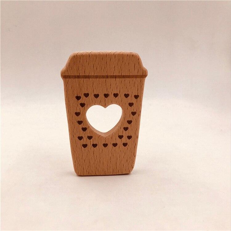Dentición de bebé, mordedor de madera natural con forma de taza de café, juguetes para dentición de bebé, accesorios para la dentición de madera, regalos para Baby Shower