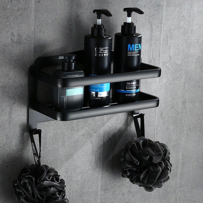 Estante de baño de ducha de aluminio champú jabón de estantes de esquina organizador de almacenamiento para baño estante negro mate con ganchos de repisa