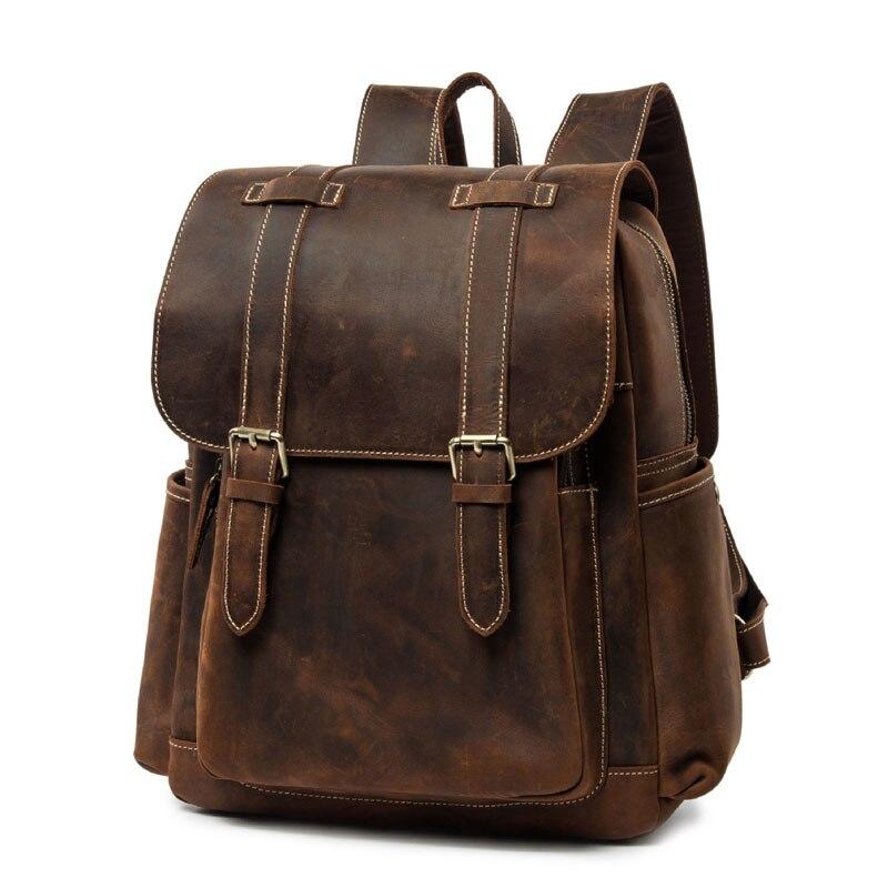 BOLEKE Vintage en cuir véritable hommes sac à dos mode fou cheval en cuir imperméable femmes sacs à dos en cuir de vache sac à dos