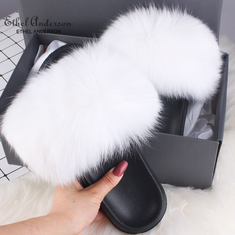 Zapatillas de piel de zorro Real de verano para Ethel Anderson, zapatillas de felpa para mujer, venta al por mayor