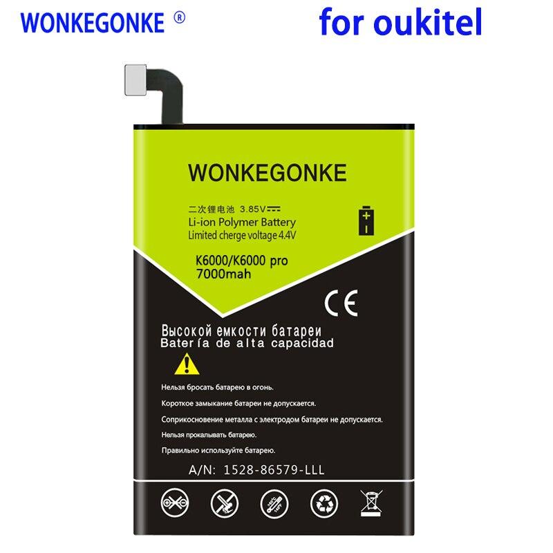WONKEGONKE 7000mah para Oukitel K6000 K6000 pro para Ulefone Power para DOOGEE T6/T6 Pro para batería de teléfono móvil Homtom HT6