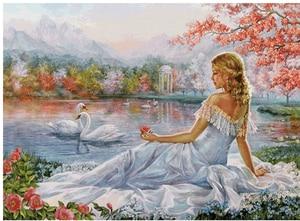 "diamond embroidery sale autumn scenery,5d diamond painting""girl & swan""full diamond mosaic pictures of rhinestones cross-stitch"