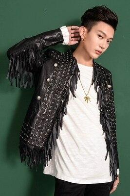 高級メンズ黒タッセル pu イベント/ステージパフォーマンスショートファッションジャケット/スタジオ/レッドカーペットジャケット/アジアサイズ