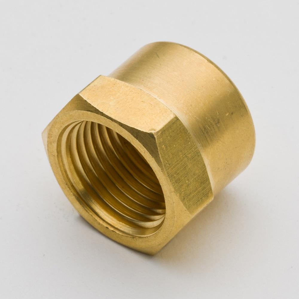 """50 Uds conector de tuberías de latón cabeza hexagonal Cap1/8 """"1/4"""" NPT hilo femenino fontanería tubo de Gas de agua accesorio conector"""