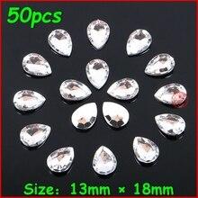50 шт./лот, высший сорт, 13*18 мм, блестящие, серебристые стразы, без отверстий, белый кристалл, камень для женщин, сделай сам, ювелирные изделия д...