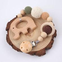 Anneau de dentition en bois pour bébé   1 pièce, Clip sucette chaîne éléphant pendentif Crochet perles rongeur, Clip sucette, cadeau de réception-cadeaux pour enfants