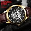 יפן MIYOTA גברים אוטומטי מכאני שעונים עבור טבעי פרק מותג יוקרה שלד שעוני יד עור relogio masculino NP1490