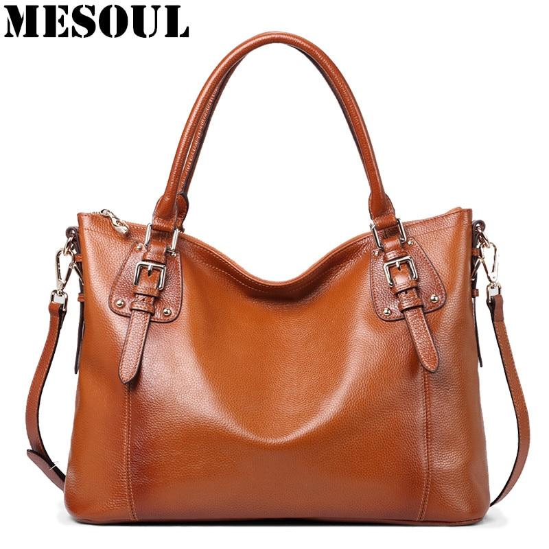 MESOUL Luxury Handbags Women Bags Designer Genuine Leather Shoulder Bags Famous Brand Large Capacity Casual Tote Hand Bag Ladies