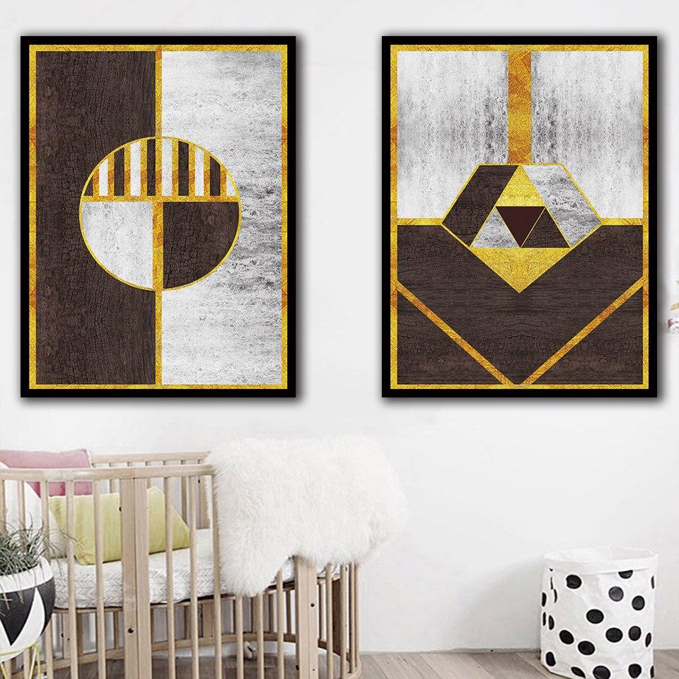 Ilustración abstracta geométrica póster lienzo arte impresión oro hilo pintura moda A4 pared cuadros para sala de estar decoración del hogar