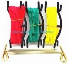 Vermelho/amarelo/verde conjunto de cabos de Teste + 2 pcs prego terra Uso para testador de resistência de Terra com 4mm Banana Plugs